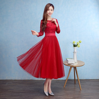 robe de soiree Tea Length Evening Dresses Long Sleeve Red Prom Dress Tulle Formal Evening Gown 2019 In Stock