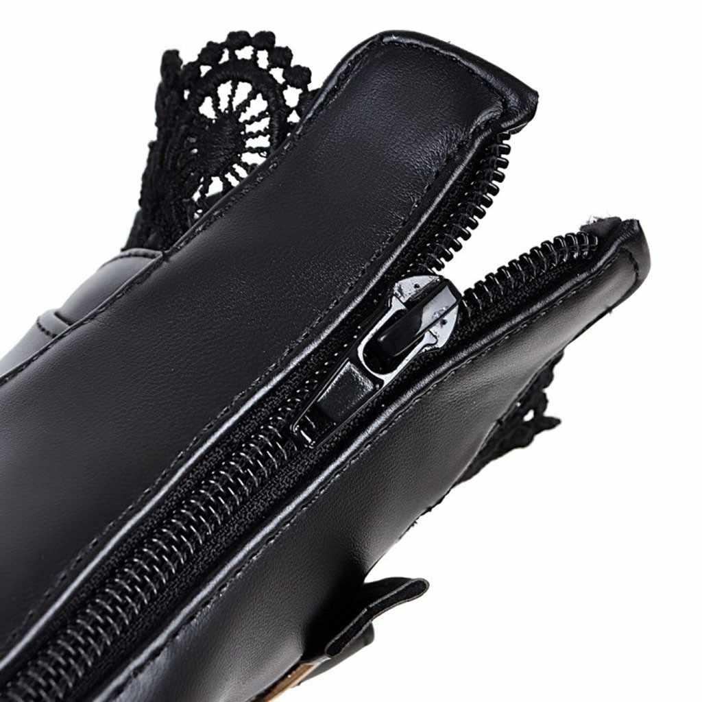Mode vrouwen Laarzen Dikke Hoge Hak Lace Up Enkellaarsjes Platform Lace Student Vrouwelijke Toevallige PU Lederen Herfst Schoenen c50 #