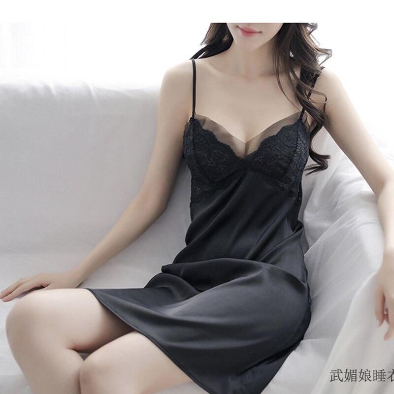 2018 Sexy Women Lace Sleeveless Sleep Dress Girls Spaghetti Strap Sexy Nighties Girls Floral V Neck Silk Nightgowns Sleepshirts