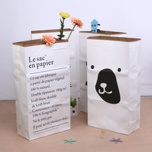 New Large Cartoon Heavy Kraft Paper Bag Children Room Organizer Environmental Frendly Storage Bag For Toy And Baby Clothes