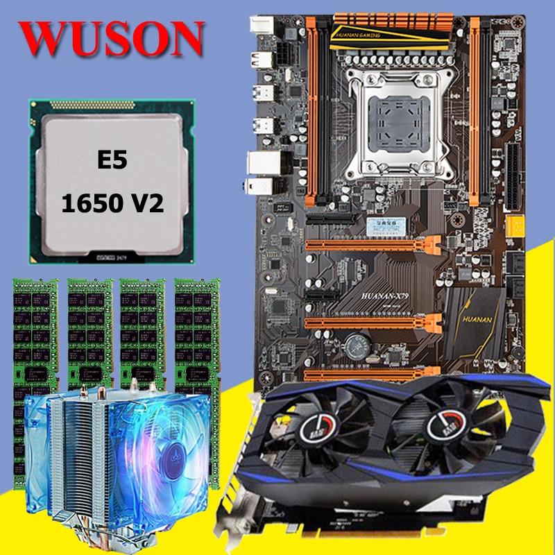 HUANAN X79 deluxe motherboard CPU RAM combos with CPU cooler Xeon E5 1650 V2 RAM 16G(4*4G) DDR3 RECC Video card GTX960 2G DDR5 recommend huanan deluxe x79 motherboard lga2011 intel xeon e5 2650 c2 ram 16g 4 4g ddr3 1333 recc support 64g 4 16g memory