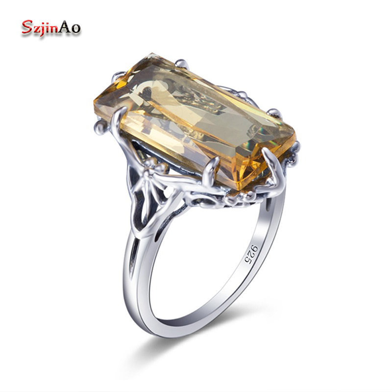 Szjinao Sale Fashion Princess Cut Square Yellow Stone Sterling Silver Rings kpop Women Vintage Dress Big Cocktail Ring Jewelry