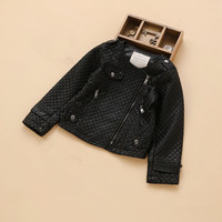 IMCCE Band Black Plaid Leather Jacket For Girls and Boys 3-12years Outerwear Coats 2017 Fashion Faux leather kids Girl jacket