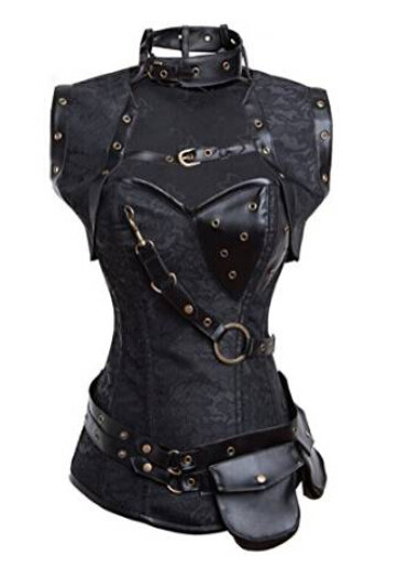 New-2015-Steampunk-Coset-Top-Retro-Gothic-Full-Steel-Boned-Brocade-Vintage-Steampunk-Bustier-Corsets-Brown (2)