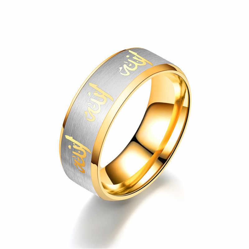 2018 สแตนเลสสตีลสีดำแหวนผู้ชาย Silver แหวนแฟชั่นผู้หญิงอิสลามแหวนผู้หญิงเครื่องประดับแหวนคู่