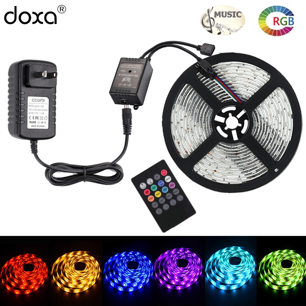 BLYN RGB LED Strip 5050 Music Tape Lights 5M 10M Strips Waterproof Party Light Music Sound Remote Controller DC12V LED Adapter