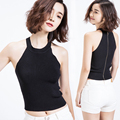 Summer Fashion Women Sexy Halterneck Knit Tank Tops Back Zipper Cropped Knitted Crop Top Slim