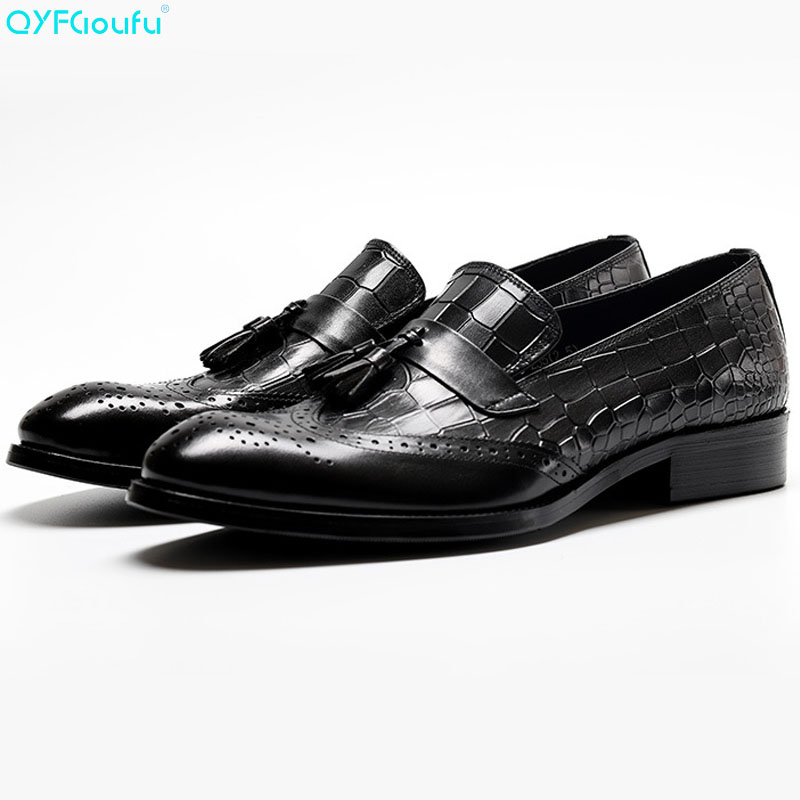 2019 Spring New Design Genuine Cow Leather Men Dress Shoes Slip On Wedding Party Man Formal Tassel Brogue Shoes in Formal Shoes from Shoes