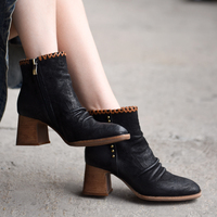 Artmu Original Retro High Heels Martin Boots Autumn and Winter New Style Ankle Boots Fashion Genuine Leather Women Boots TD25 1