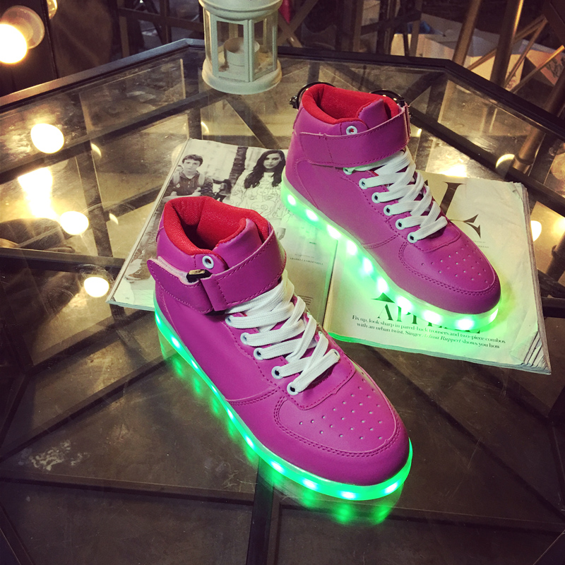 Unisex Led Light Shoes 2016 New Fashion Casual zapatos tenis de led chaussures Lumineuse High Top Glowing Usb basket Shoes Sale