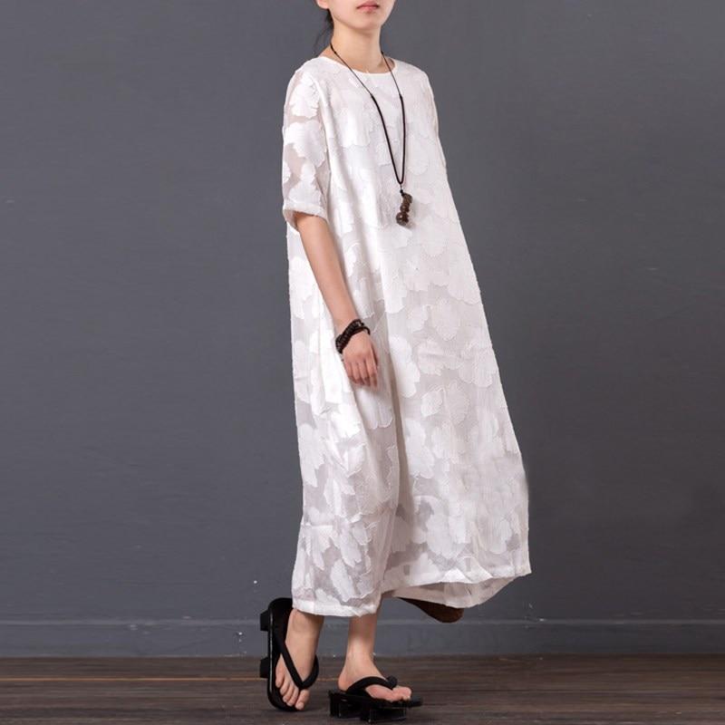 Women Maxi Long Dress Summer Half Sleeve M-4XL Round Neck Loose Plus Size Boho Dress Casual Female Retro Vestidos Meternity Robe