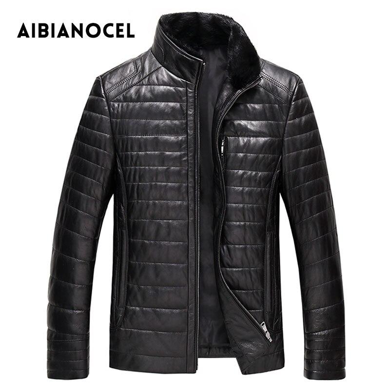 AIBIANOCEL зимнее пальто из натуральной кожи для мужчин модное кожаное пуховое пальто мужское кожаное пальто из толстой натуральной кожи Shepskin ...