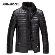 AIBIANOCEL зимнее пальто из натуральной кожи для мужчин модное кожаное пуховое пальто мужское кожаное пальто из толстой натуральной кожи Shepskin coat 52103