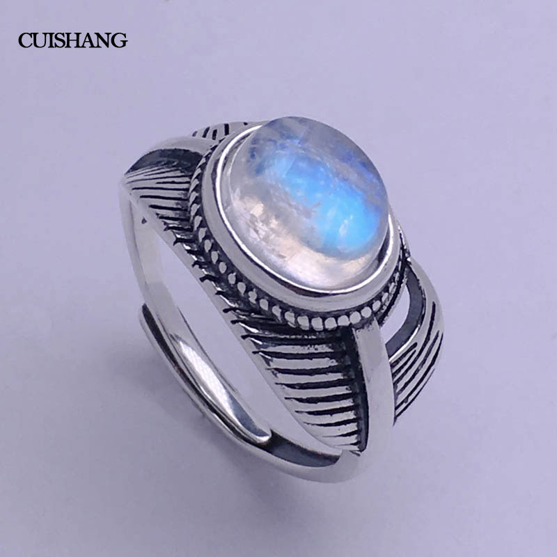 CSJ naturel bleu pierre de lune bague en argent sterling femmes femme dame mariage fiançailles fête cadeau bijoux fins