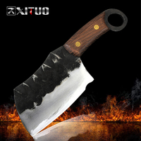 Xituo completa tang artesanal cortar cutelo faca de açougueiro alta carbono folheado aço cozinha chef faca japonês ferramenta santoku quente novo|Facas de cozinha| |  -