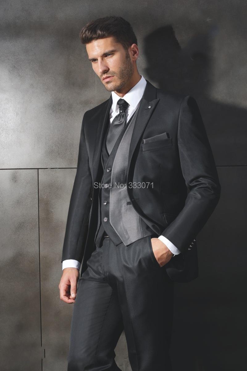 ᑎ‰Black Gary tailor Suits custom made Groom tuxedo Retro ...