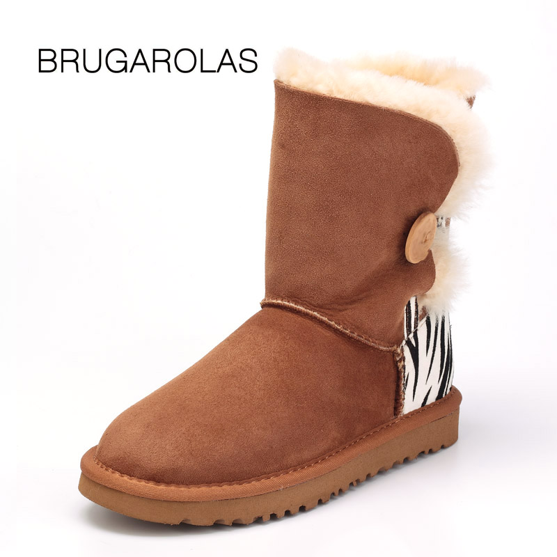 BRUGAROLAS - Hot Selling Nature fur real Wool genuine sheepskin leather button snow boots for women prints Short winter shoes цены онлайн
