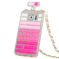 Bling 3D Crystal Diamonds Clear Hard Case Cover Chain For Iphone 7 7Plus 6 6SPlus 5