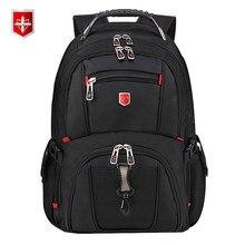 90d847fd0a750c Svizzera degli uomini Zaino 15.6/17 pollici Del Computer portatile  sacchetto di Scuola Borse Da Viaggio Unisex Grande Capacità b.