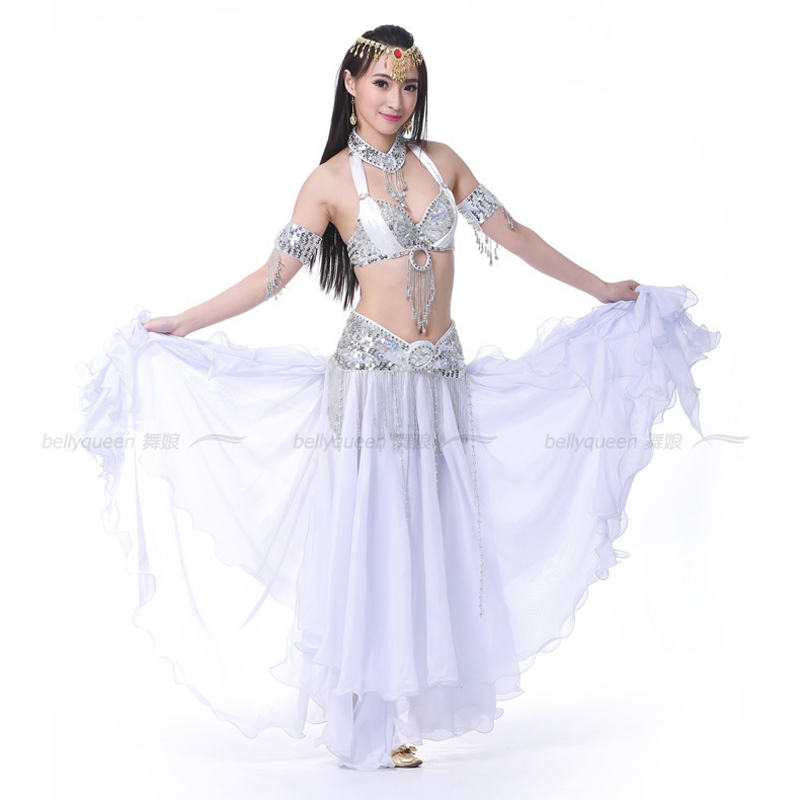 2017 White Professional Belly Dance Costumes Outfit Set
