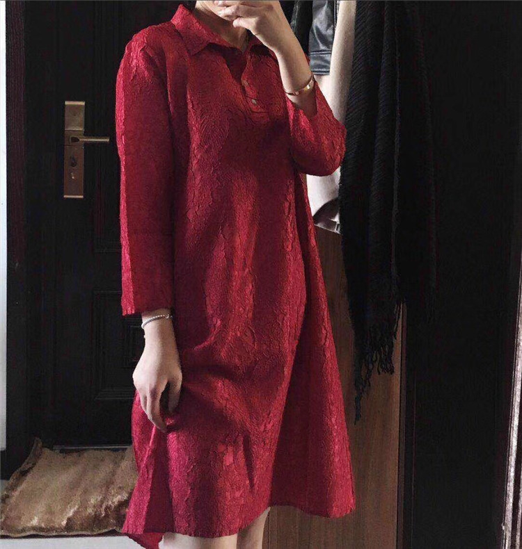 Stock Miyake Bleu Robe Solide Trois Trimestre Livraison rouge Vert Gratuite Mode dye Bouton Tie En marine Liquidation Fold OwqUwT5