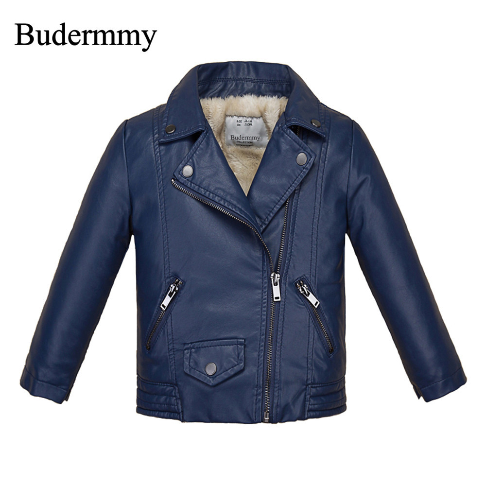 Budermmy Leather Jacket for Boy Faux Fur Winter Thicker Coats Plus Wool Kids Black Jackets for Toddler Boys and Girls Windproof 2017 fashion teenager motorcycle coats boys leather jackets patchwork children outerwear letter printed boy faux leather jacket