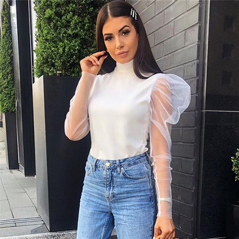 New Fashion Women's Turtleneck Long Mesh Puff Sleeve T Shirt Solid Color Slim Tops Ladies Casual Tee Shirt Party Wear Summer