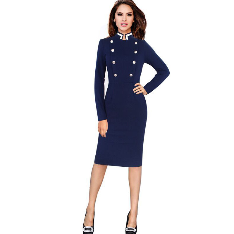 Brithday Dress for Women Elegant Front Button Vintage Work Office Autumn Winter Long Sleeve Bodycon Knee Length Formal Dress 35
