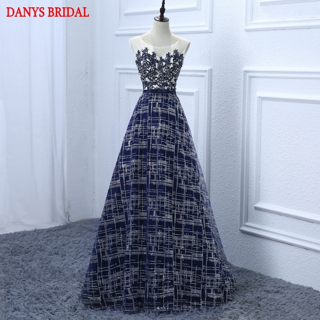 f7c99d255b7359 Marine-blau-lange Spitze Abendkleider Party Frauen Pailletten Perlen  Günstige Luxus Formale Abendkleider Kleider