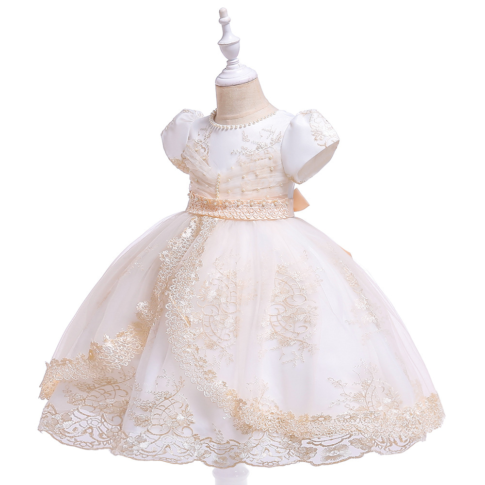 Ruffled High Set   Flower     Girls     Dress   In White   Flowers   Kid   Girls   Wedding   Dress   Evening Prom   Dresses