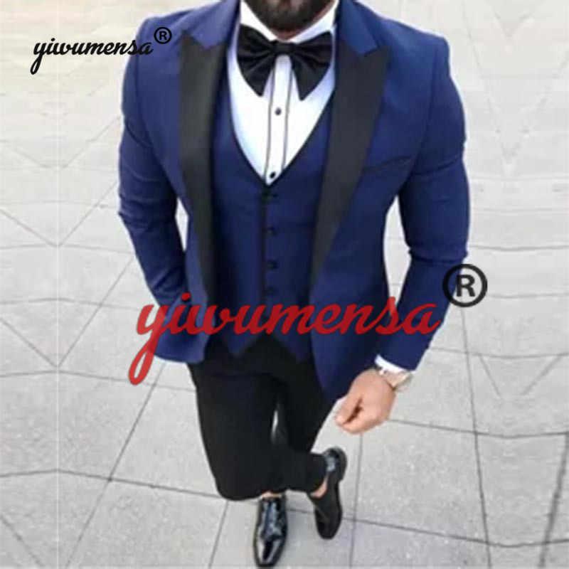 Yiwumensa 最新コートパンツデザイン黒男性のスーツウエディングタキシードスリムフィット 3 ピース新郎スタイルメンズスーツカスタムメイドブレザー Terno