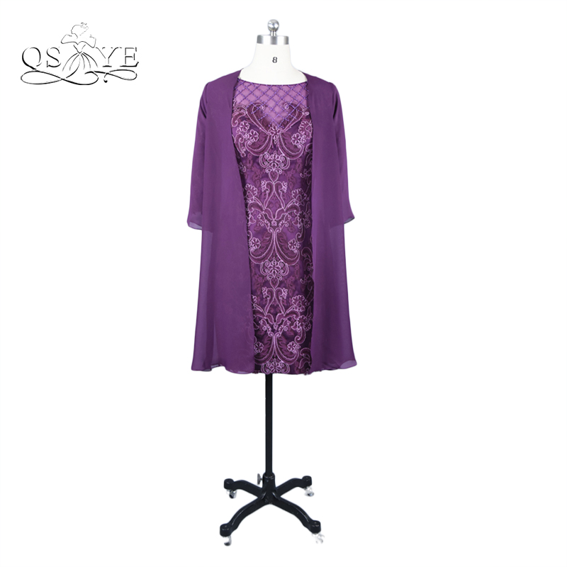 Purple Lace Mother Of The Bride Dresses Chiffon Jacket