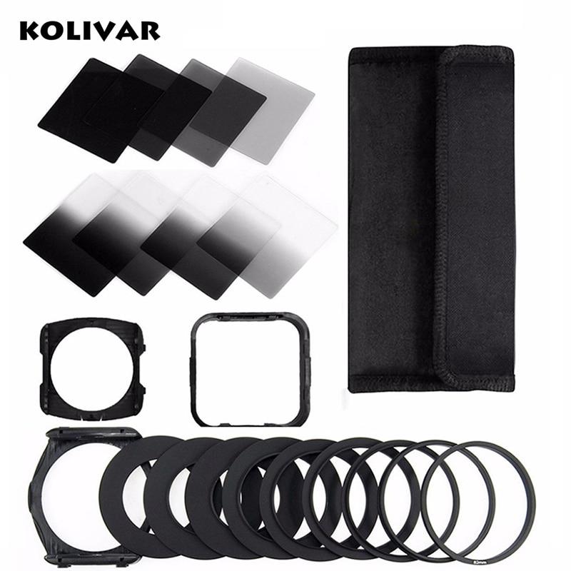 KOLIVAR Zomei 21in1 Kit de Filtre Carré pour Cokin P Série 83x95 Plein et Gradué ND2/4/8/16 + Porte-Filtre + Capot + 49-82mm Adaptateur Anneau