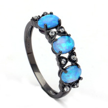 Vnfuru Fashion Blue Fire Opal Ring Jewelry White CZ Bowtie Engagement Finger Ring For Women Wedding Gift Black Ring Dropshipping rainbow fire mystic crystal zircon ring white black innocuous ceramic rings plus cz for women wedding ring engagement jewelry