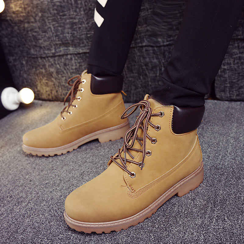 Winter Mannen Laarzen PU Outdoor Sneeuw Enkellaars Mannelijke Lace Up Anti-slip Laarsjes Britse Sneakers Plus Size 46 zapatos De Hombre