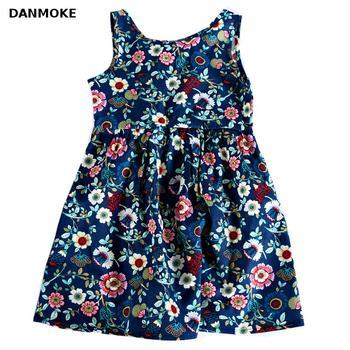 Платье для маленьких девочек 3-11 лет, платье для девочек с цветочным принтом, костюм на лето 2017, повседневная одежда