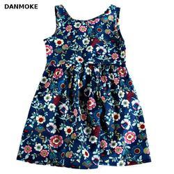 Danmoke/платье для маленьких девочек возрастом от 3 до 11 лет, одежда платье для девочек с цветочным принтом 2017 г. Летний костюм повседневная одеж...