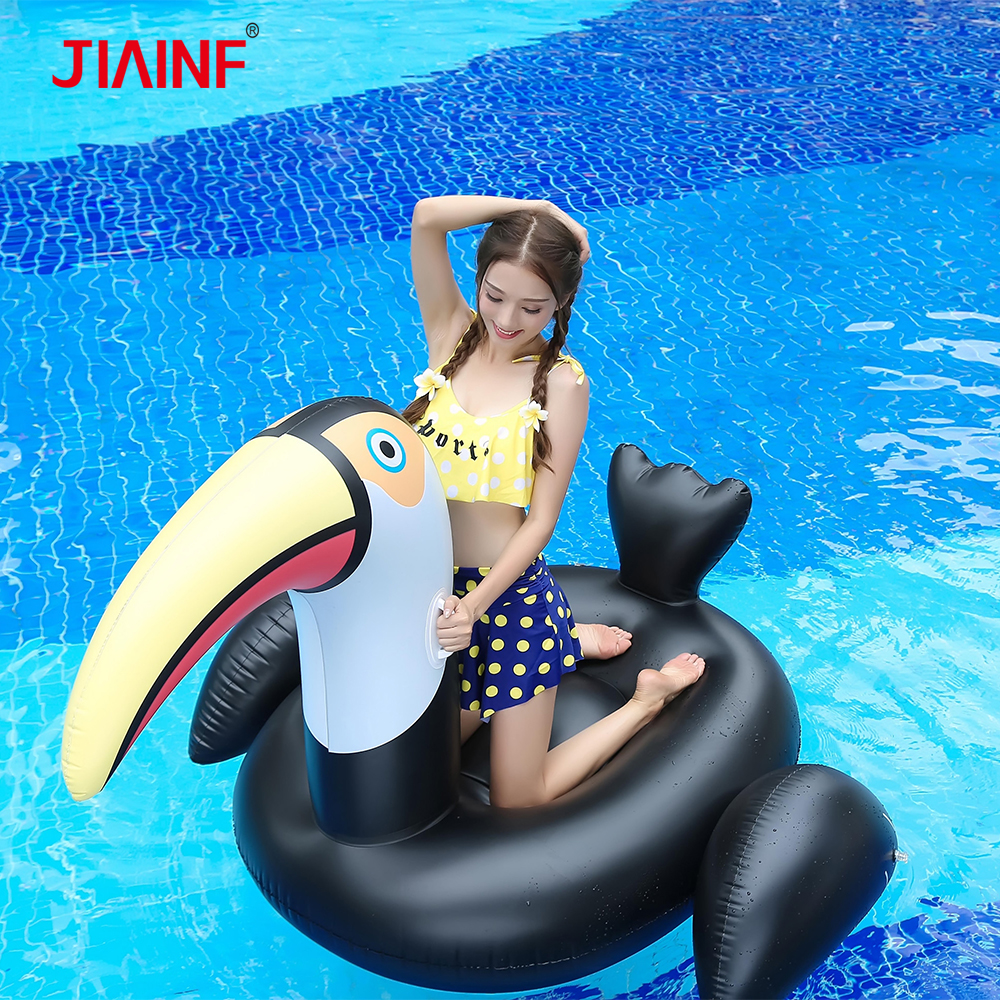 JIAINF Hot Selling Giant Inflatable Riding Black Big Mouth Duck Water Pool Floats Pool Party Toy Swimming Floating Row