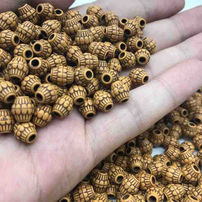 DIY Cheap 7*8mm 100pcs/Lot Hot Acrylic Beads Imitation Wood Beads Round Shape Fits For Handmade Necklace Bracelet Jewelry Making