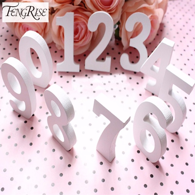 FENGRISE Wooden Numbers White Wedding Table Romantic Decoration Valentines Day Decor 1st Birthday Supplies