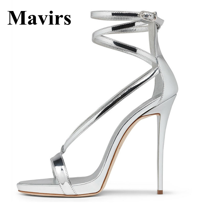 MAVIRS 12CM Extreme High Heels Sandals Silver Gold Woman Pumps Stiletto Shoes Gladiator Sandalias Feminina EU Size 35-46 phyanic 2017 gladiator sandals gold silver shoes woman summer platform wedges glitters creepers casual women shoes phy3323