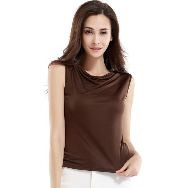 63e8df09d61 100% Silk Knitted Top Women Sleeveless T shirt Tank Top New Arrival  Comfortable Breathable China
