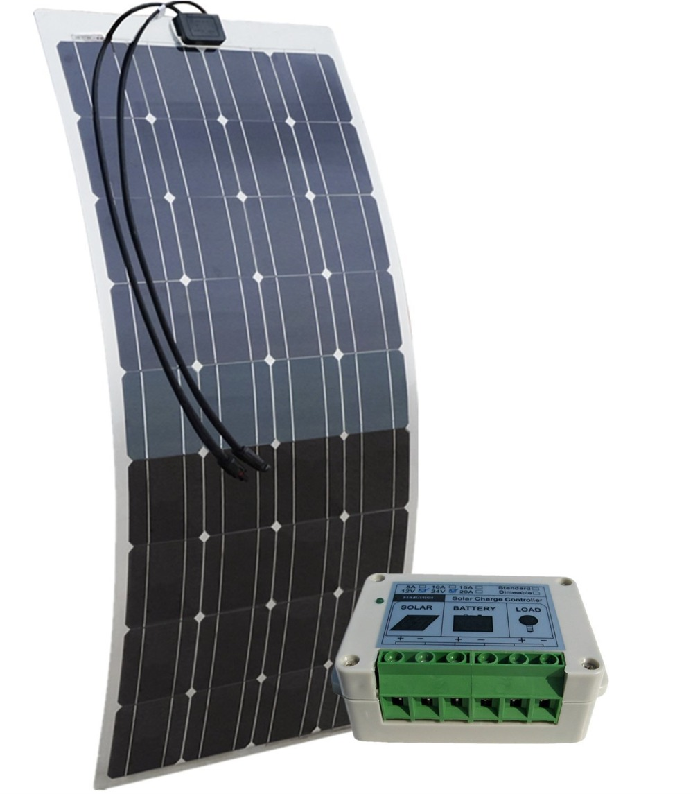 ECO-WORTHY 100w semi flexible solar panels 100watt portable mono solar modules with 15A Solar Charger Controller