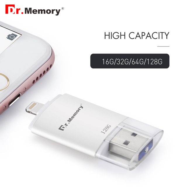 Rayo pendrive i-unidad flash usb para iphone 6 s 7 ipad metal pen drive 16 gb 32 gb 64 gb 128 gb de disco de memoria de la tableta de expansión usb