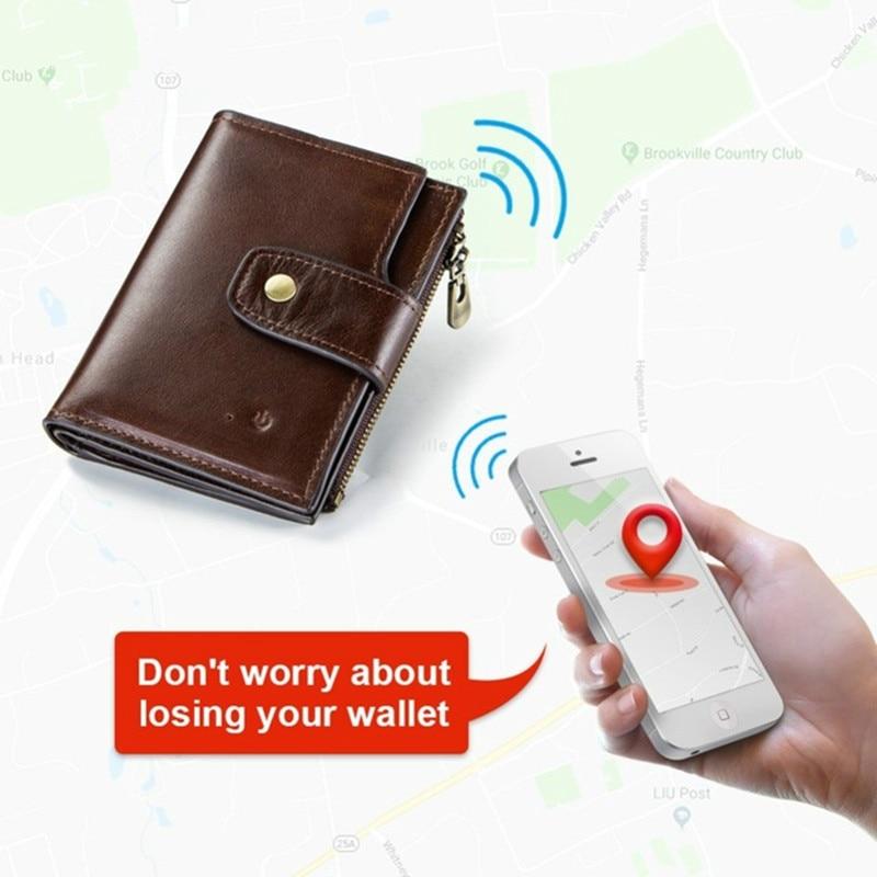 Portefeuille intelligent rfid Véritable En Cuir avec alarme GPS Carte, alarme bluetooth Hommes Bourse qualité supérieure Marque Conception Portefeuilles 2019 Walet