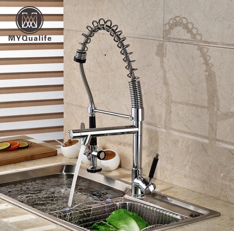 Chrome Finished Spring Kitchen Sink Faucet Brass Pull Out Hands Free Kitchen Mixer Faucet with Dual Spout good quality wholesale and retail chrome finished pull out spring kitchen faucet swivel spout vessel sink mixer tap lk 9907