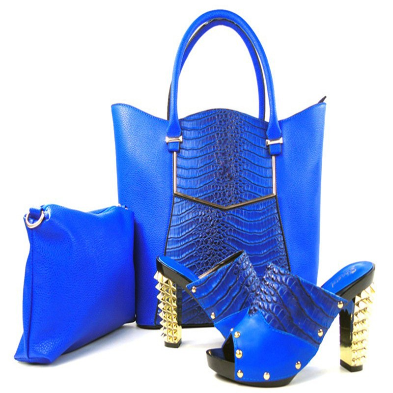 New Style font b Women b font Italian Pumps Shoes With Matching Bags Set Fashion African
