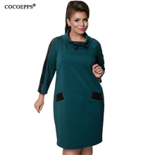 PU Lether Patchwork Warm Dress Plus Size Women Clothing 5XL 6XL Loose Dresses Large Size Turtleneck Blue Vestidos