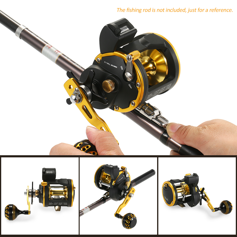 6 1 Ball Bearing Fishing Trolling Reel with Line Counter Alarm Bell Drum Reel Fish Vessel