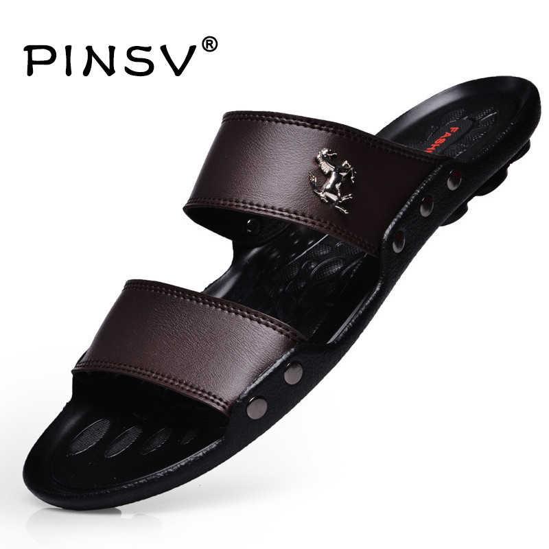 2cfdc44c3ef Hot Sale Sandals Men Shoes Summer Slippers Men PU Leather Sandals Black Beach  Slippers Sandalias Hombre